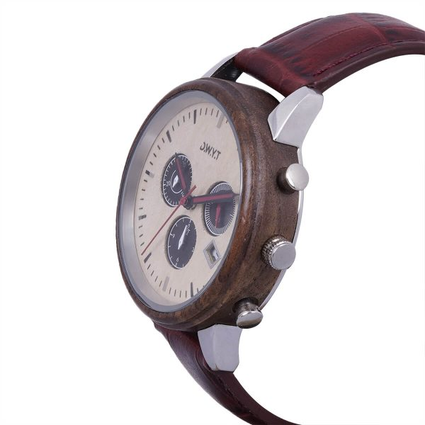 Montre en bois Marco Polo avec bracelet croco carmin