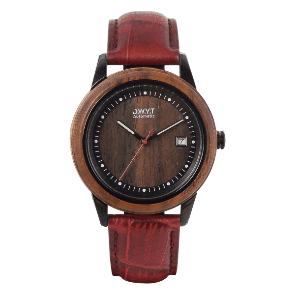 Montre en bois Mood Night avec bracelet croco