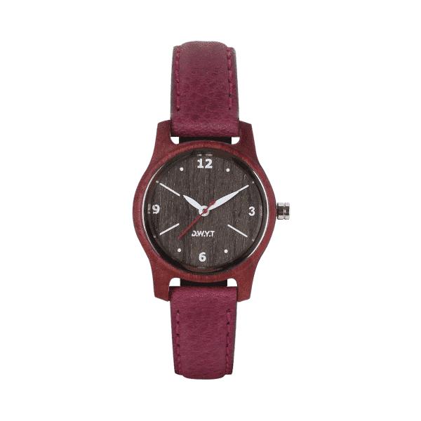 Montre en bois Petra avec bracelet en cuir grainé prune