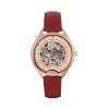 Montre squelette femme Odyssey rosegold avec bracelet en cuir lisse rouge rubis