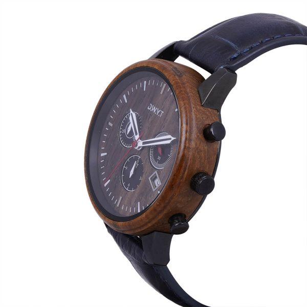 Montre en bois Marco Polo avec bracelet croco océan