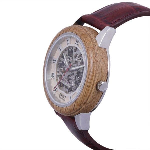 Montre en bois Constantin avec bracelet croco moka