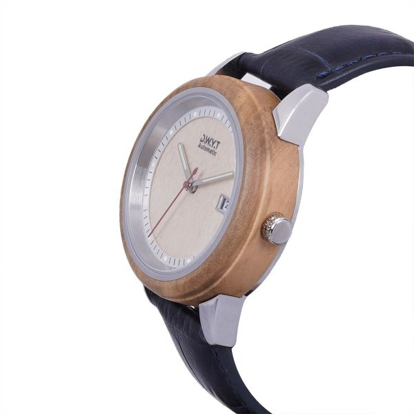 Montre en bois Morning avec bracelet croco océan
