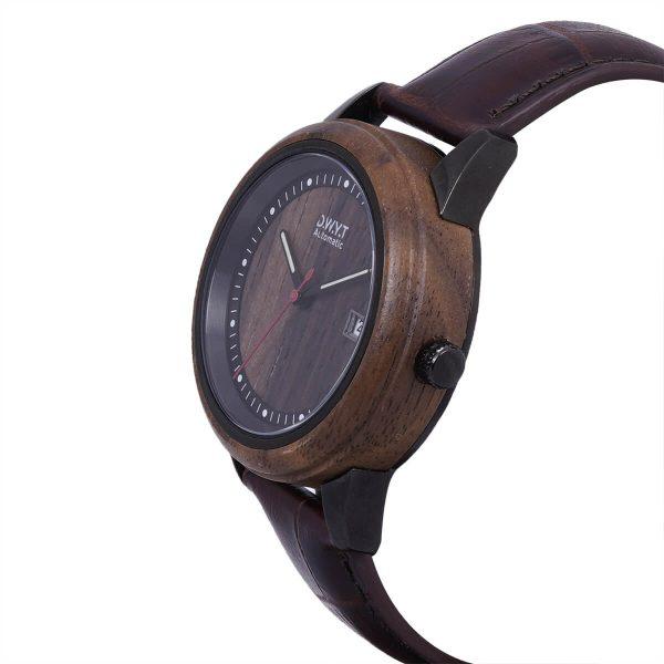 Montre en bois Night avec bracelet croco moka