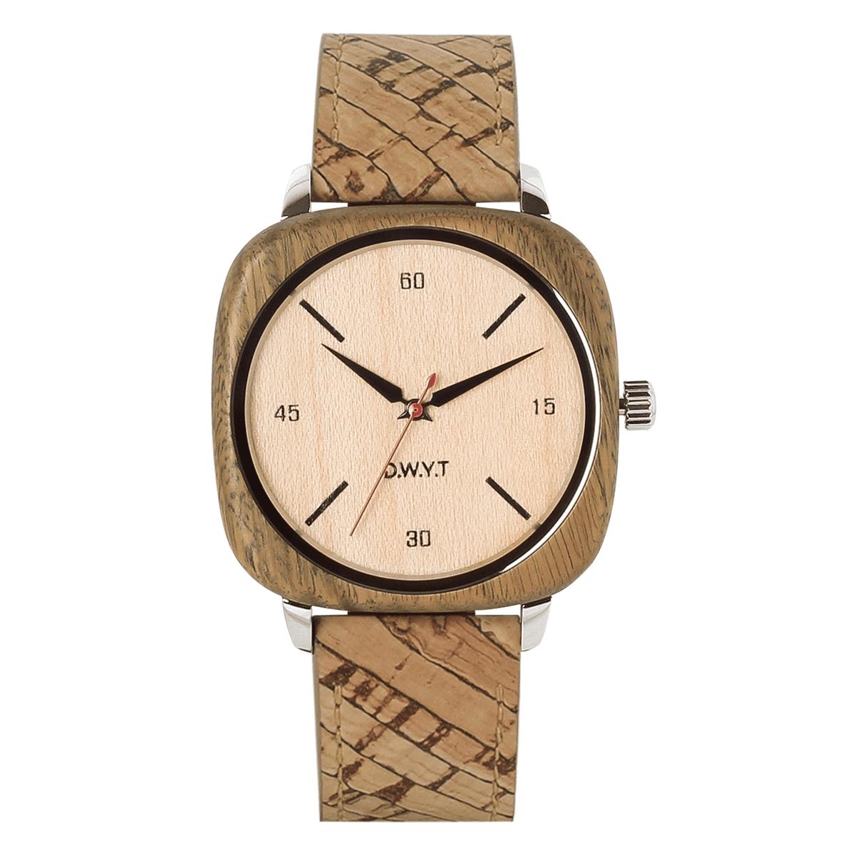 Montre en bois green square avec bracelet vegan liege