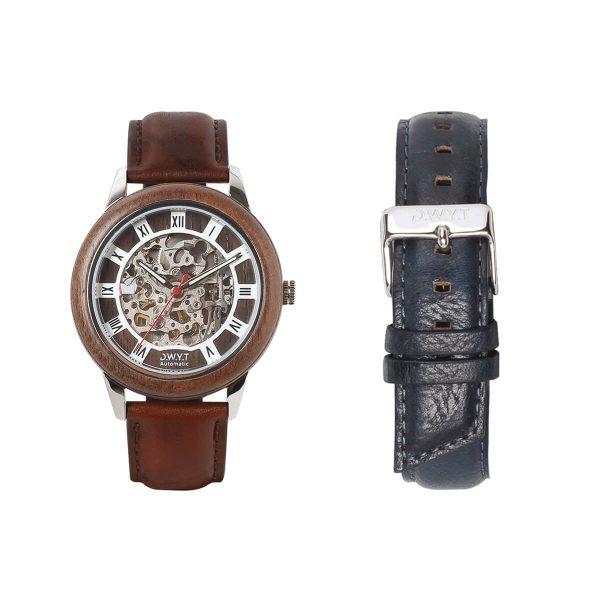 Coffret cadeau montre César avec bracelet marron sénois et bleu de minuit