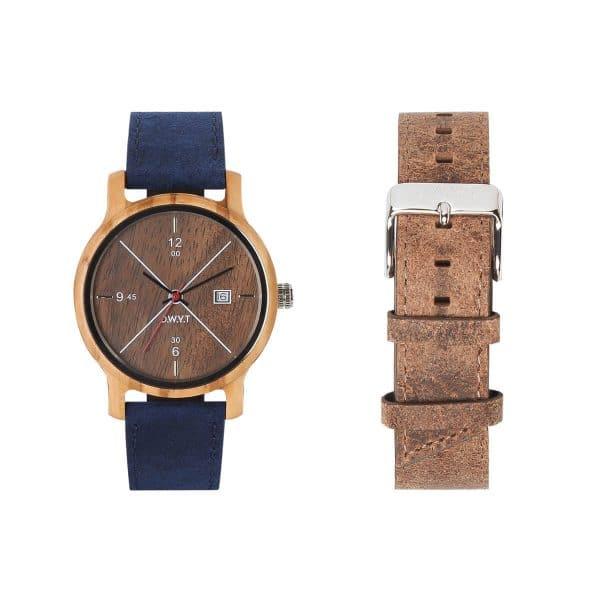 Coffret montre Côme avec bracelet bleu saphir et marron sépia