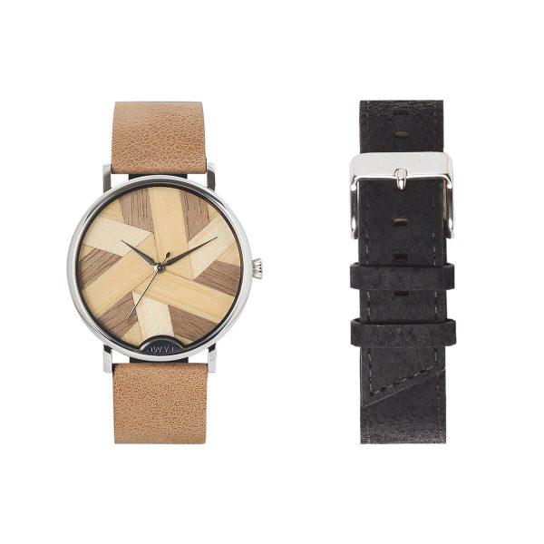 Coffret cadeau montre Symphony 9 avec bracelet cuir grainé beige et additionnel noir