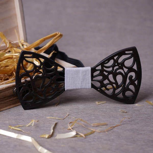 noeud papillon noir homme avec détail tissu blanc