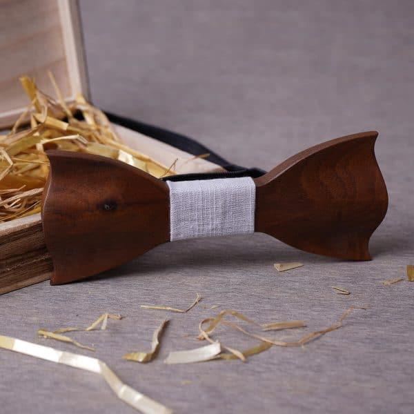 noeud pap en bois avec rebords ondulés pour homme