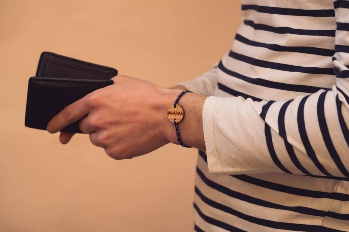 Homme un bracelet cordon homme fibre recyclé