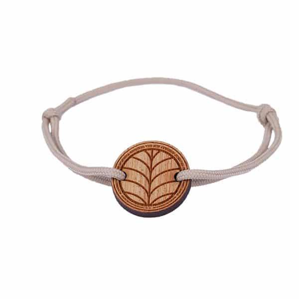 Bracelet feuille Le naturel avec cordon couleur sable packshot
