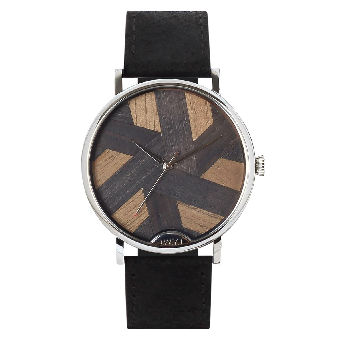 Montre bois femme Symphony avec cadran en marqueterie noir avec bracelet cuir vintage noir charbon