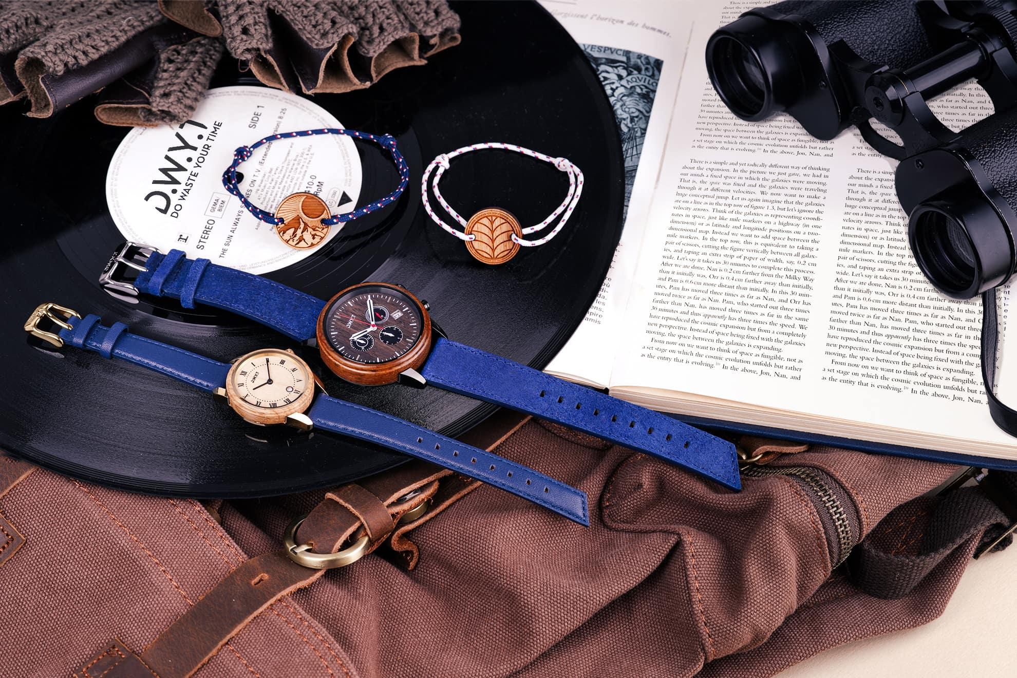 Bracelets corde et montres pour homme et femme.