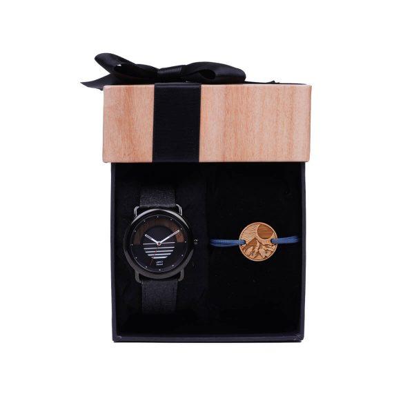 Coffret montre et bracelet homme Sunset avec bracelet en fibre d'ananas et bracelet cordon L'alpin