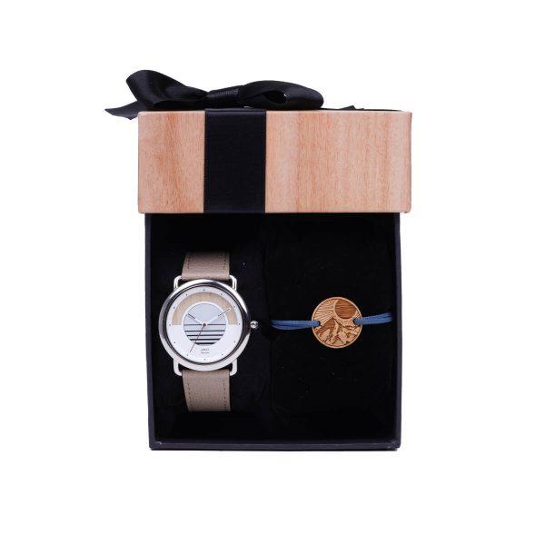 Coffret montre bracelet homme le lève-tôt composé d'une montre solaire Sunrise vegan pomme amande et un bracelet cordon l'alpin