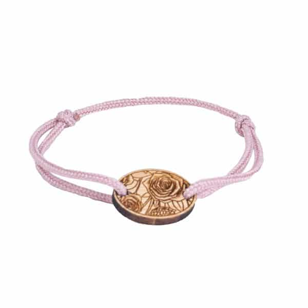 Bracelet Octobre Rose cordon rose à motif floral La Rose