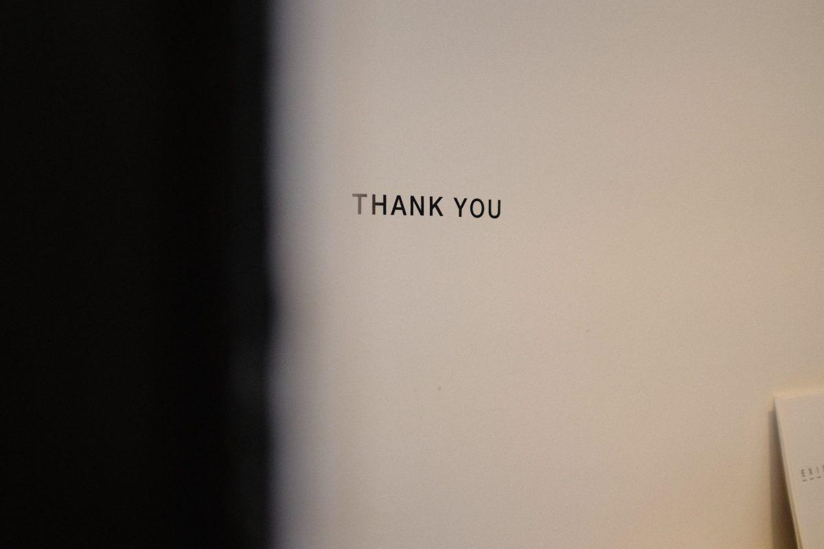 """""""Thank you"""" mot de remerciement"""